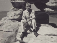 Stanley Hamamura with at Demon's Anvil, Wisconsin Dells, Wisconsin 1942. [Courtesy of Fumie Hamamura]