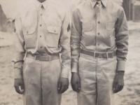Stanley Hamamura and friend at Camp McCoy, Wisconsin. [Courtesy of Fumie Hamamura]