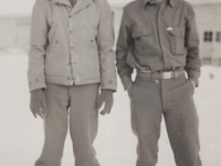 Stanley Hamamura and friend in winter at Camp McCoy. [Courtesy of Fumie Hamamura]