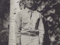 """Stanley Hamamura in front of the """"Morning Glory"""" in Tomah, Wisconsin, August 30, 1942. [Courtesy of Fumie Hamamura]"""