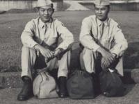 Hidenobu Hiyane and Stanley Hamamura in Des Moines, Iowa on furlough in July 1942. [Courtesy of Fumie Hamamura]