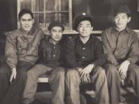 Kimura - Kuriyama - Akinaka - Hamamura Shelby. Reverse: Taken at night in our barracks just after coming here in Jan. Camp Shelby, Miss. Jan. '43. [Courtesy of Fumie Hamamura]