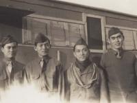 Camp Shelby - Radi Operators 1-43. Reverse: Four Stooges - All radio operators. Camp Shelby, Miss. Taken before retreat formation Jan. '43. [Courtesy of Fumie Hamamura]