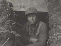 """Hiyane - Anzio Dugout. Reverse: Anzio Hidenobu Hiyane - One of my good friends in entrance of dugout - I Dug."" [Courtesy of Fumie Hamamura]"