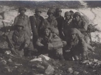 Soldiers of the Communications Group in the mountains near Cassino, Italy. [Courtesy of Fumie Hamamura]