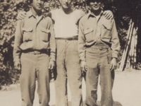 Soldiers with an Italian friend in Leghorn, Italy 1944. [Courtesy of Fumie Hamamura]