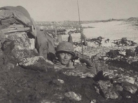 Stanley Hamamura in a trench at the Italian front, January 11, 1944. [Courtesy of Fumie Hamamura]
