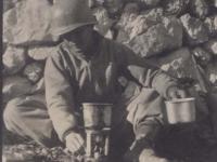 Stanley Hamamura heating water for coffee before Cassino. [Courtesy of Fumie Hamamura]