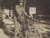 Stanley Hamamura on a borrowed bicycle in Leghorn, Italy, 1944. [Courtesy of Fumie Hamamura]