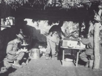 Able Company kitchen, France, 1944. [Courtesy of Fumie Hamamura]