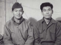 Stanley Hamamura and Tamotsu Higuchi in Menton, France, December 1944. [Courtesy of Fumie Hamamura]