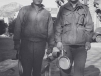 Stanley Hamamura and H. Hiyane go for chow in Menton, France, December 1944. [Courtesy of Fumie Hamamura]