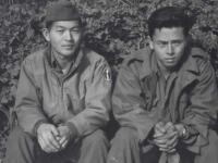 Stanley Hamamura and Toshimi Sodetani in Beausoleil, France, 1944. [Courtesy of Fumie Hamamura]