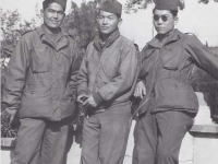 Stanley Hamamura, Seiji Adaniya, and Toshimi Sodetani in France, 1944. [Courtesy of Fumie Hamamura]