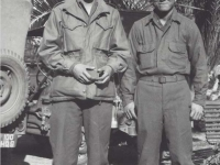 Stanley Hamamura and Yoshio Ogomori in France, 1944. [Courtesy of Fumie Hamamura]