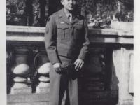 Stanley Hamamura in front of the Astoria Hotel in Menton, France, December 1944. [Courtesy of Fumie Hamamura]