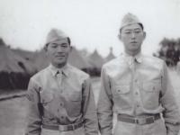 Stanley Hamamura and Sueo Noda at Camp McCoy, 1942. [Courtesy of Fumie Hamamura]
