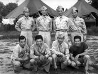 Yasui, Stanley Hamamura, Motoishi, Sekiya, Kashiwabara, Muranaka, Inouye, and Takahashi at Camp McCoy in July 1942 [Courtesy of Fumie Hamamura]