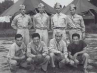 Yasui, Stanley Hamamura, Motoishi, Sekiya, Kashiwabara, Muranaka, Inouye, and Takahashi at Camp McCoy in July 1942.  [Courtesy of Fumie Hamamura]