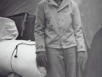 Stanley Hamamura getting ready to move with his belongings at Camp McCoy, 1942. [Courtesy of Fumie Hamamura]