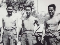 Three soldiers relaxing at camp. [Courtesy of Fumie Hamamura]