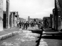 Soldiers march through bombed European city [Courtesy of Fumie Hamamura]
