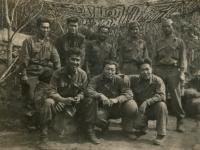 Anzio days, 1944. Back l to r: A. Kuriyama, Hidenobu Hiyane, James Horikoshi, James Oki, David Suzuki. Front 1 to r: Albert Oki, Isaac Akinaka, Edward Saito. (Courtesy of Joyce Walters)