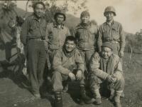 Alife, Italy. Radio Section. Back row - Ed Saito, Kuriyama, Howard Yamamoto, Stan Hamamura. Front row - Topsy Oda, J. Horikoshi. (Courtesy of Joyce Walters)