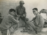 Break thru before Rome. June 1, 1944, Nakatsui, Kimura, me. (Courtesy of Joyce Walters)