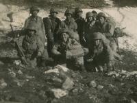 Forward Command Group, Radio and Message Center Unit. Venafro, Italy '43. Back row, left to right: Ed Ikuma, Capt. King, 'me,' Seiji Kimura, K. Komatsu (killed in action), Howard Yamamoto. Kneeling: Shimizu, S.Ushijima (home on furlough). (Courtesy of Joyce Walters)