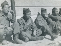 April 1945. Guys waiting at Repple Depple to be shipped home on furlough (rotation). Was in group myself. May 20, 1945 reached Staten Island, N.Y. Left to Rite: 1. Yamato, Shiro; 2. no name; 3. Enomoto, Jun; 4. no name; 5. Shima, Hq 1st Sgt. (Courtesy of Joyce Walters)