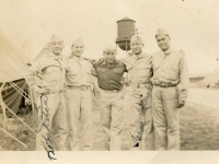 Camp McCoy, Wis '43. Kohatsu, Fred Takahashi, A. Kuriyama, Issac Akinaka & me (Hiyane). (Courtesy of Joyce Walters)