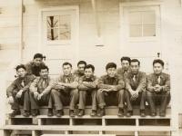 Dec. 10, 1942. Fighting E Co's 2nd Squad. Dec. 10, 1942. 1. Paul Kunabe; 2. K. Kuromoto; 3. Kazuto Yoshioka ?; 4. Wasato Harada; 5. no name; 6. Yamakawa, Sueyoshi; 7. Takeo Fujiyama; 8. S. Morimoto; 9. Thomas Moriki; 10. Tom Kikuta. (Courtesy of Joyce Walters)