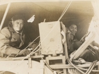 Bugs - a slang term for radio operators. Hiyane and driver (unknown name). (Courtesy of Joyce Walters)