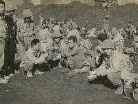 Piombino, Italy '44.  Ikuma, Hamamura, Tamashiro, me, Kidani, Kimura, Iwamoto. (Courtesy of Joyce Walters)