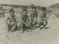 Piombino, Italy '44.  1. Horikoshi (James' brother); 2. Wire section G.I.; 3. S. Kimura; me. (Courtesy of Joyce Walters)