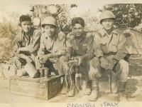 Somewhere in Italy near Naples, 1944, Bagnoli, Italy. Stan Hamamura, Lt. Kodama, Lawrence Iwamoto, me. (Courtesy of Joyce Walters)