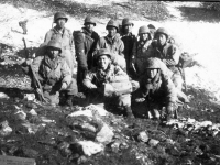 Soldiers gather on the hillside at Cassino, Italy [Courtesy of Edward Ikuma]