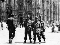 Jimmy Inafuku and friends in front of the Piazza del Duomo in Milan, Italy [Courtesy of Carol Inafuku]
