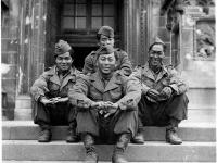 Jimmy Inafuku (far left) and friends in Milan, Italy, June 1945 [Courtesy of Carol Inafuku] Inscription: Milan June 1945