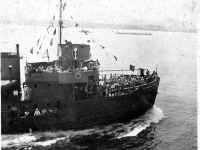 US Army LT-532, Go for Broke Ship with soldiers on deck [Courtesy of Carol Inafuku]