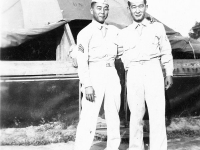 Thomas Tsubota & James Kawashima in front of tents at Camp McCoy, Wisconsin [Courtesy of Alexandra Nakamura]