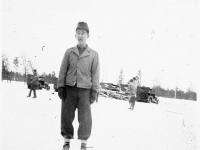 James Kawashima on ice skates in an ice rink at Camp McCoy, Wisconsin, December 7, 1942 [Courtesy of Alexandra Nakamura] Inscription: In Our Ice Rink, December 7, 1942
