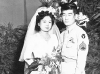 Wedding photo of Shizue and James Kawashima, July 29, 1945 [Courtesy of Alexandra Nakamura] Inscription: Mr. & Mrs. James Kawashima, July 29, 1945