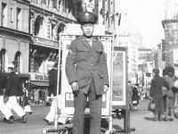 M. Kawamoto in Times Square. [Courtesy of Sonsei Nakamura]