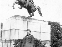 Tokuji Ono in uniform standing at the base of a statue of Andrew Jackson in Jackson Square, New Orleans [Courtesy of Leslie Taniyama] Inscription: Reverse: Dec. '42 New Orleans Jackson Square