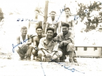 Billy Takaezu, T. Tanaka, Robert Goshima, James Komatsu, F. Kanemura, Y. Takata, T. Ono at Camp Shelby after Ship Island. [Courtesy of Leslie Taniyama]