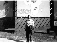 Tokuji Ono standing in front of mammal exhibit at the Bronx Zoo [Courtesy of Leslie Taniyama] Inscription: Reverse: Oct. '42 N.Y. Bronx Zoo