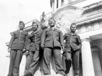 "A. Nozawa, H.Wozumi, T.Shirai, Hirasuna at the base of eagle statue at Grant's Tomb [Courtesy of Leslie Taniyama] Inscription:Reverse: N.Y. Oct. 1942 A. Nozawa, H. Wozumi, ""Fundi"" T. Shirai, H.N. HIrasuna. Gran'ts Tomb"