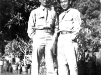 Albert Oki and Tokuji Ono in front of a home in Wisconsin  [Courtesy of Leslie Taniyama]